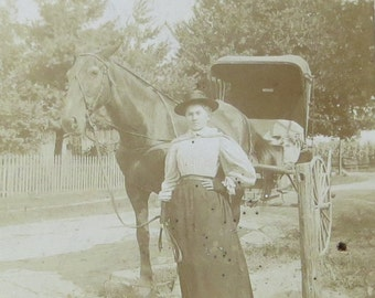 Equal Rights - Proud 1890's Woman With Her Horse and Carriage Snapshot Photograph - Free Shipping