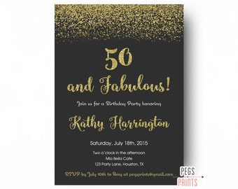 Th Birthday Invite Etsy - Birthday invitation gold coast