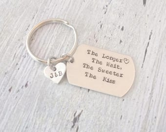 Personalized Couples Keychain, The Longer The Wait The Sweeter The Kiss, Military Keychain