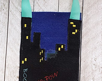 Finger Puppet Storage Bag Cityscape, Comic Inspired Bag, Night Time City