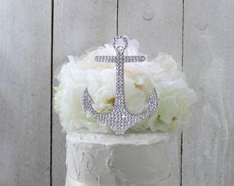Anchor Wedding Cake Topper, Nautical Cake Topper, Anchor Cake Topper, Nautical Beach Wedding, Swarovski ,Bling Rhinestone Anchor topper
