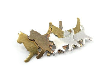 Vintage Mexico Cats Brooch, Cats Walking, Brass, Copper, Nickel Silver, Signed MC