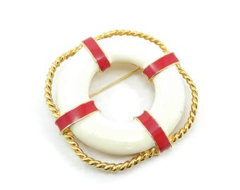 Vintage Life Preserver Brooch, White Red Enamel, Gold Tone