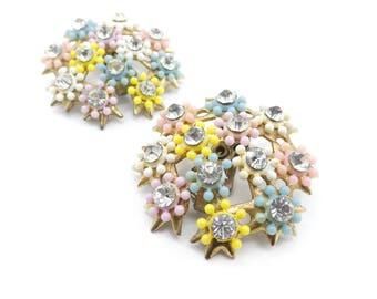Vintage Pastel Flower Earrings, Rhinestones, Cluster, Clip Ons