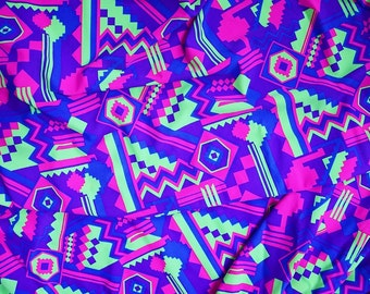 UV Neon Lime & Purple Aztec Print Spandex Fabric SUPER Bright Bold Geometric Shapes Diamonds Zigzag Square Triangles Blue Pink (By the Yard)