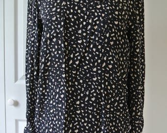 Valentino Silk Blouse Made in Italy Black Paint Splatter Print Size S/P