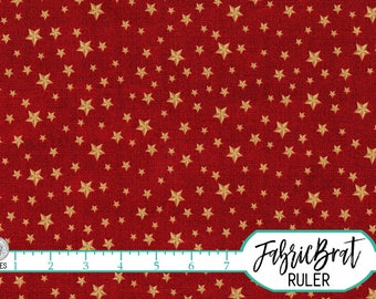 GOLD Star on RED Fabric by the Yard, Fat Quarter America Fabric USA Star Fabric 4th of July 100% Cotton Fabric Quilting Fabric Yardage t2-38