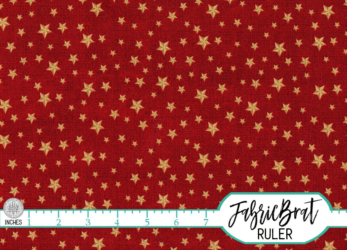 Gold star on red fabric by the yard fat quarter america for Star fabric australia