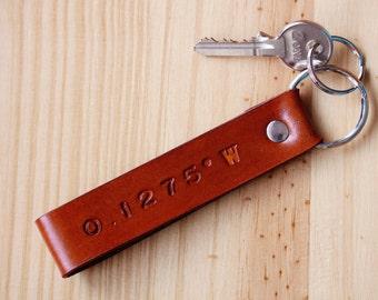 Custom Coordinates Keychain, Latitude Longitude Leather Key Chain, GPS Coordinate Secret Location Couples Keychain, Leather Anniversary Gift
