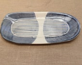 Rectangular Tray: Handmade blue and white stoneware tray, pencil tray, desk tray, bathroom tray