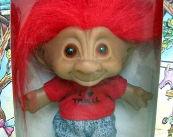 "ACE Novelty Treasure Troll Friendly Trolls Diamond  Rhinestone Jewel Belly Button Wishstones 7"" Lucky Toy Boy Doll Red Hair Blue Jeans NIB"