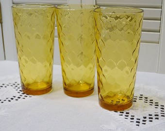 Vintage Anchor Hocking Amber Glass Tumbler Set of 3 Optic Honeycomb Retro Drinking Glassware PanchosPorch