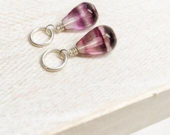 Rainbow fluorite jewelry bracelet charms - gemstone bracelet charms - stone sterling silver dangle