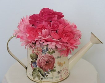 Pink Watering Can Centerpiece