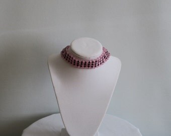 Pink and black four tiered choker necklace