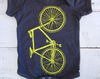 bicycle bodysuit, bike baby one piece Cute newborn gift. American Apparel.