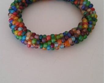 Multicolored Glass Bead Bracelet.  Confetti Bangle.