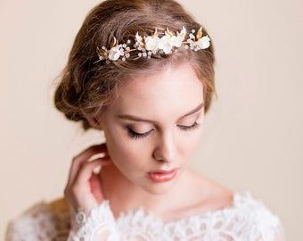 Bridal Tiara - Wedding Gold Tiara - Bridal Headpiece - Vine Leaves and Apple Blossom Headband - Wedding Crown
