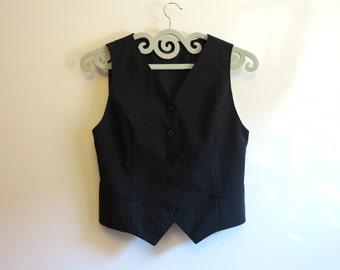 Dark Grey Vest Grey Striped Womens Vest Steampunk Vest Formal Waistcoat Small Size