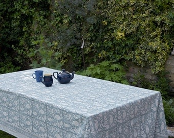 Block printed TABLECLOTH - Light Teal Blue paisley pattern