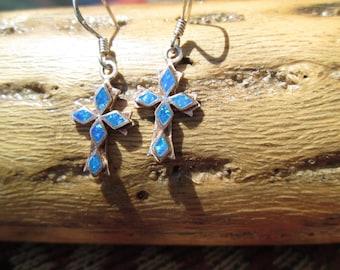 Opal and Sterling Cross Dangle Earrings