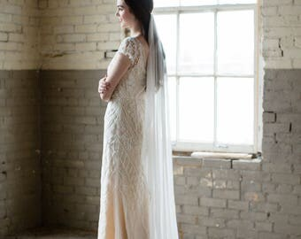 silk wedding veil, silk bridal veil, silk veil, silk mantilla, silk tulle veil, ivory wedding veil, fingertip veil, cathedral veil - SELENE