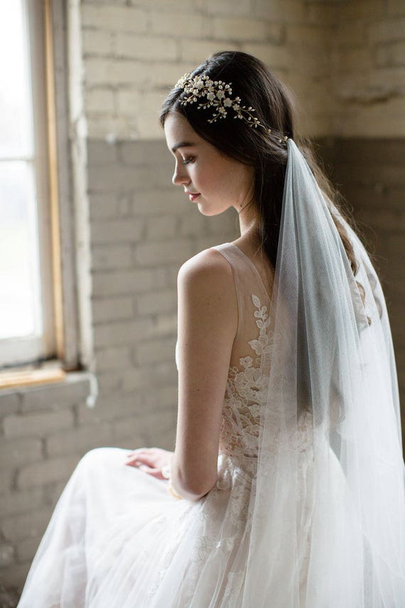 Draped Veil Bohemian Veil Soft Tulle Veil English Net Veil