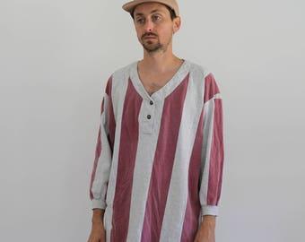 Striped Henley Oversized 90s Long Sleeve Shirt Mens Medium
