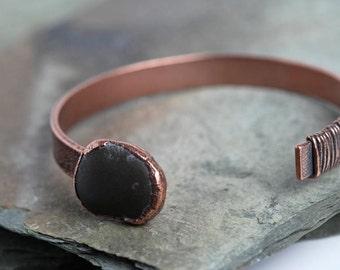 Open Bracelet Simple Stone Cuff Modern Jewelry Electroformed Cuff Natural Jewelry Beach Pebble