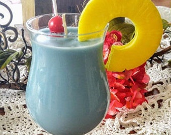 Tropical Blue Colada Candle. Scented 100% Soy Wax Candle