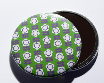 Gorgeous Retro Floral Print Pocket Mirror in Green and Purple