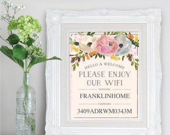 "WiFi Password Sign - 8"" x 10"" and 5"" x 7"" - WiFi Password for Guest Room - DIY WiFi Password Printable - Sweet Blooms Instant Download"