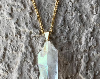 RAINBOW AURA QUARTZ Crystal Necklace