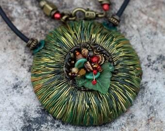 Jewelry pendant made of polymer clay green , pendant, polymer clay, polymer clay pendant, jewelry, boho, ethno, pendant Boho, Boho jewelry