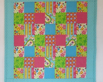 "Doll Quilt, 17"" x 18"", Blue, Dots, Paisley, Patchwork Print Quilt, Free Pillow"