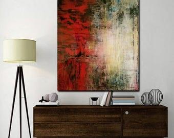 Original Abstract Art, Original Painting, Modern Art, Handmade Art, Abstract Red Painting 36x40