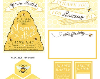 Baby Shower Kit, Mama to Bee Invitation, Printable Baby Shower Kit, Bee Themed Baby Shower - PRINTABLE