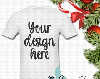 Adult TShirt Mockup Photo - White Short Sleeve Adult T-Shirt Christmas Mock-Up Image