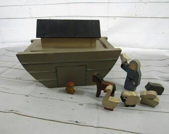 Vintage Handmade Wooden Ark Noah's Ark Folk Art