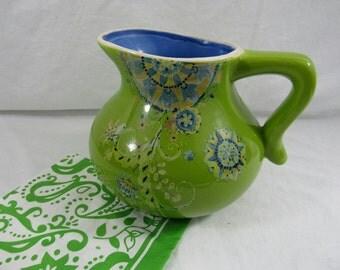 Boho Transferware Ceramic Pitcher Paisley Style