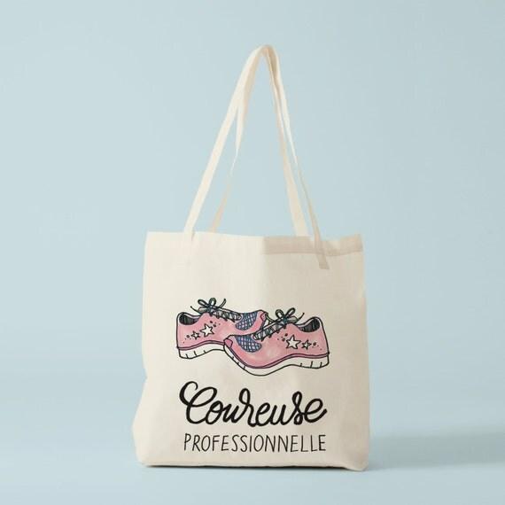 Tote bag Professional Runner, Novelty gift, cotton bag, fun bag, gift for coworker, groceries bag, shopper bag, running mama.