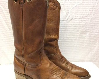 Durango Western Stitched Cowboy Boots Mens 9.5D Brown Leather