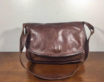 Saks Fifth Ave, Saddle Bag Purse, Shoulder Bag, Brown Leather