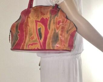 Fooled Leather Red, Green, Leather, Bag, Shoulder Bag