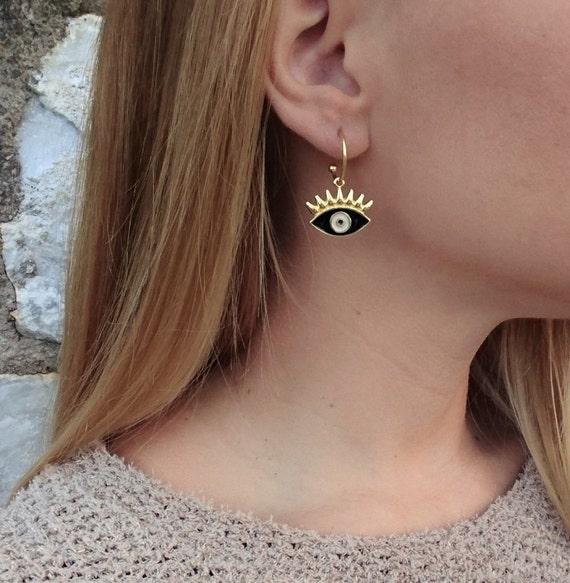 Eyelash Evil Eye Hoop Earrings / Gold Plated Brass Earrings / Enameled Evil Eye / Handmade Earrings