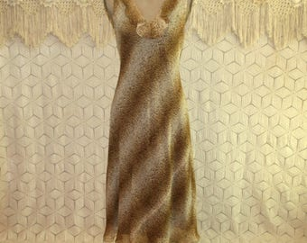 Sleeveless Silk Dress Summer Dress Medium Romantic Boho Midi Brown Animal Print Dress V Neck Size 10 Dress Jones New York Womens Clothing