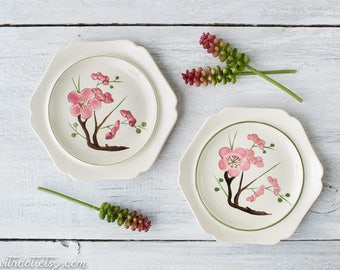 2 Vintage Redwing Plates - Pink Plum Blossom - Floral Plates - Decorative Plates with Pink Flowers