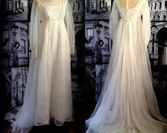 60s White Chiffon Bridal Dress - High Illusion Neckline - Empire Waist - Scalloped Ribbon-Woven Trim - Long Sleeves - SMALL