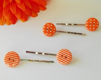 Cute Hair Clips, Button Accessory, Fashionable Slides for Girls, Fringe Tidy, Fifties Fancy Dress Headpiece, Set of 2, Small Gifts for Women