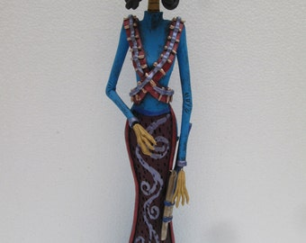SOLDIER CATRINA revolutionary mexican folk art day of the dead sculpture 16""